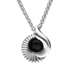 Sterling Silver Whitby Jet Seashell Necklace