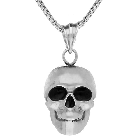 Unique Gothic Whitby Jet Necklace Skull With Jet Eyes Silver Small