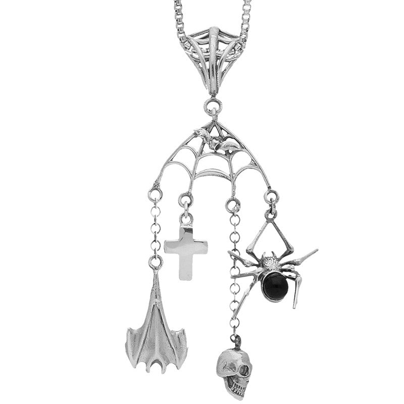 Unique Gothic Whitby Jet Necklace Web Bat Cross Skull & Spider Silver