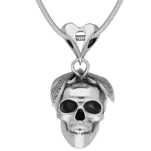 Unique Gothic Necklace Skull With Butterfly Silver Small