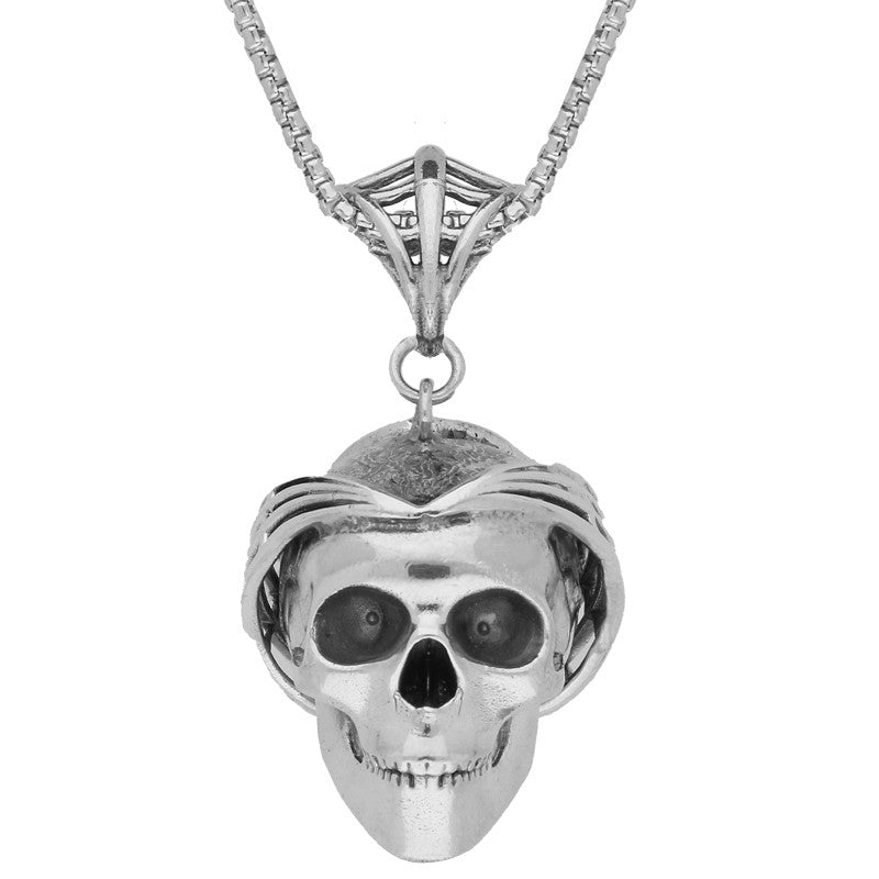 Unique Gothic Necklace Skull With Web Crown Silver