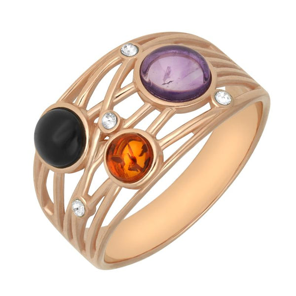 Rose Gold Vermeil Whitby Jet Amethyst Amber Bubble Ring