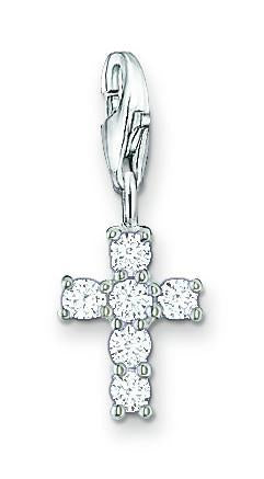 Thomas Sabo Charm Club Sterling Silver Cubic Zirconia Cross Charm, 0054-051-14.