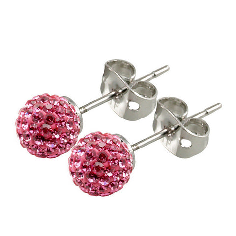 Tresor Paris Earrings 6mm Pink Crystal