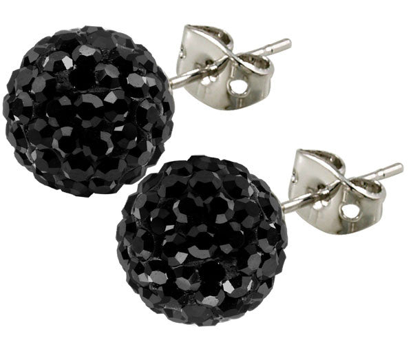 Tresor Paris Earrings 6mm Black Crystal