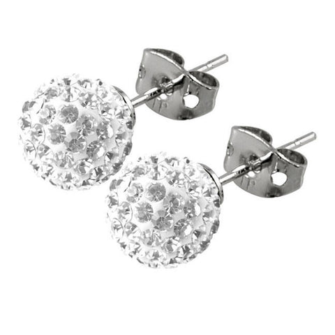Tresor Paris Earrings 8mm White Crystal