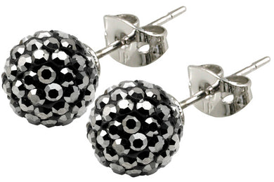 Tresor Paris Earrings 8mm Grey Crystals 016009