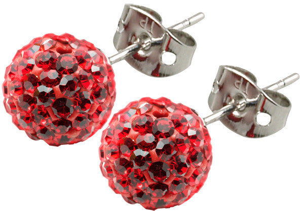 Tresor Paris Earrings 8mm Red Crystal
