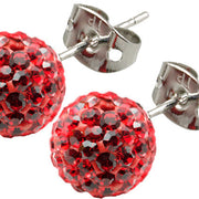Tresor Paris Earrings 8mm Red Crystals 016012