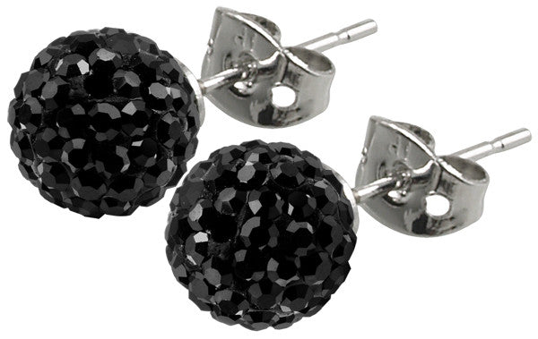 Tresor Paris Earrings 8mm Black Crystal