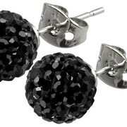 Tresor Paris Earrings 8mm Black Crystals 016013