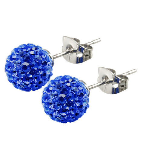 Tresor Paris Earrings 8mm Blue Crystal