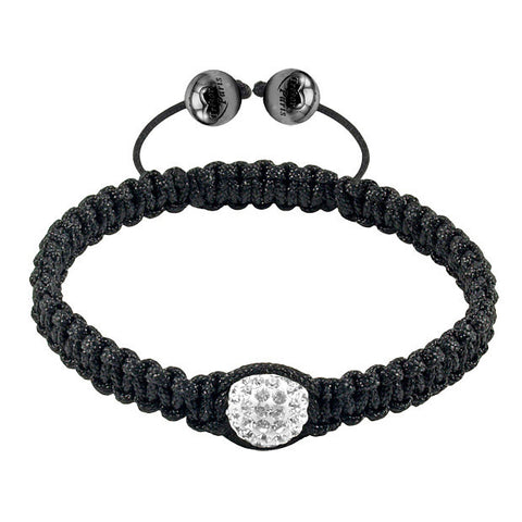 Tresor Paris Bracelet Black Cord White Crystal S