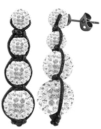 Tresor Paris Earrings White Crystal Drops 016039