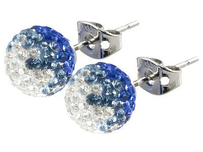 Tresor Paris Earrings 6mm White And Blue Crystal
