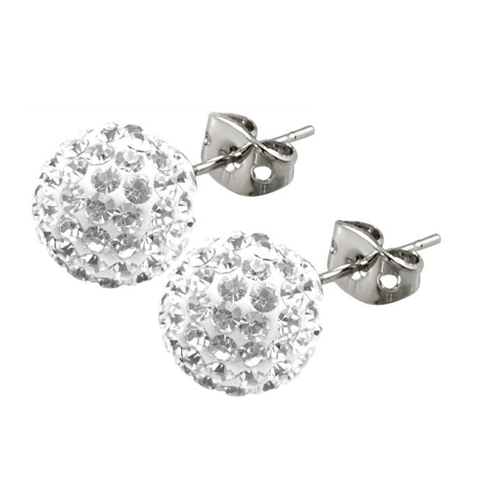 Tresor Paris Earrings 10mm White Crystal