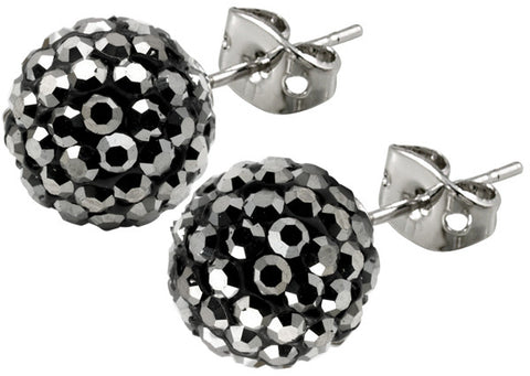 Tresor Paris Earrings 10mm Grey Crystal