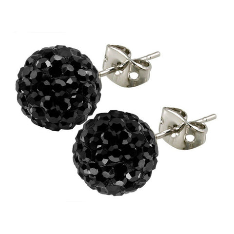 Tresor Paris Earrings 10mm Black Crystal