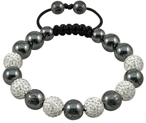Tresor Paris Bracelet 10mm White Crystal And Magnetite S