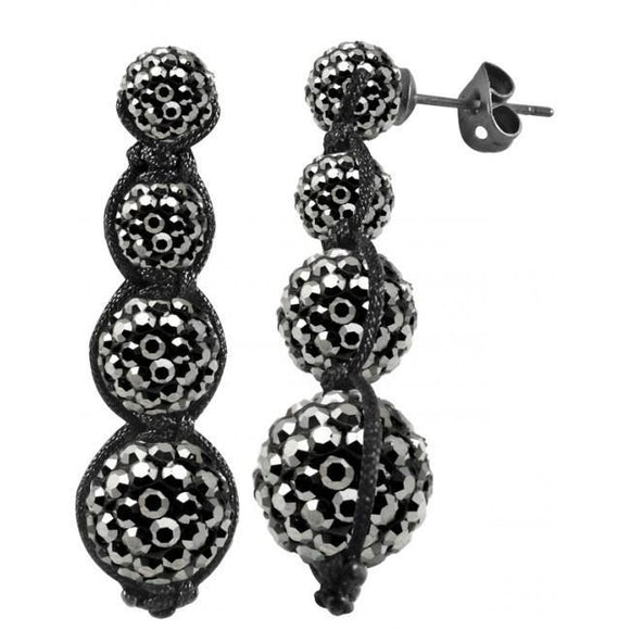 Tresor Paris Earrings Grey Crystal Drops 017202