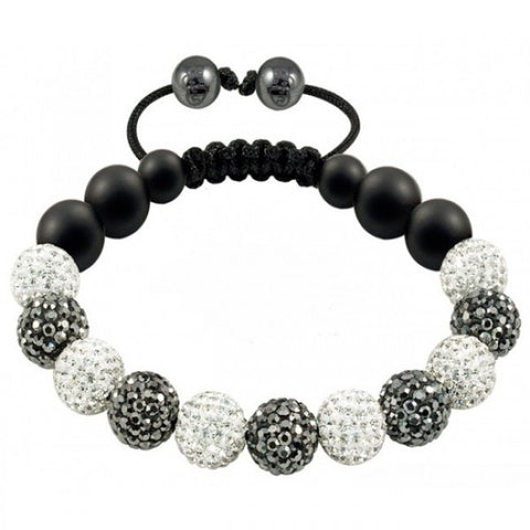 Tresor Paris Bracelet 10mm White Grey Crystal And Black Agate S