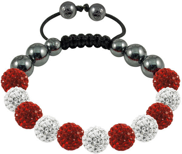 Tresor Paris Bracelet 10mm White Red Crystal S