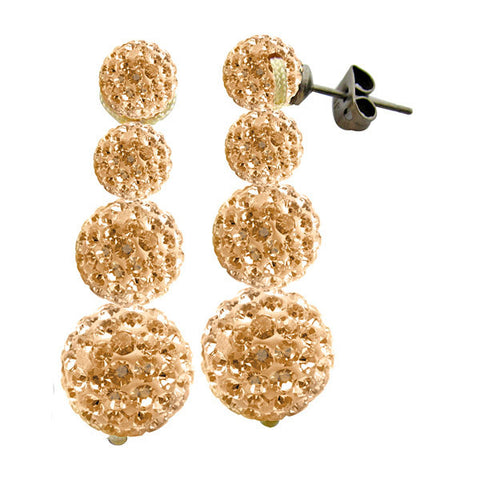 Tresor Paris Earrings 30mm Gold Crystal Drops