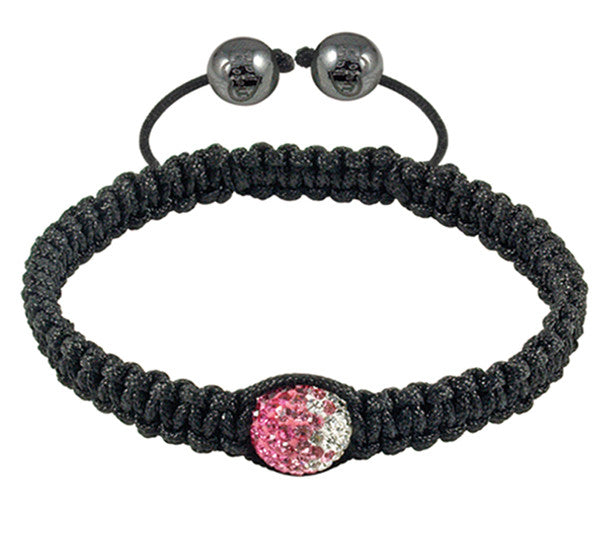 Tresor Paris Bracelet Black Cord Pink And White Crystal S