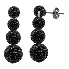 Tresor Paris Earrings Black Crystal Drop