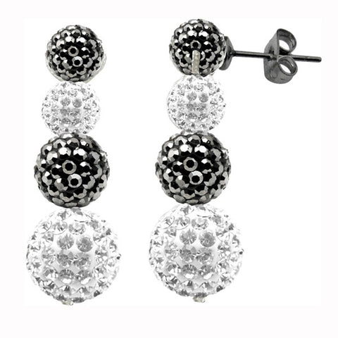 Tresor Paris Earrings Grey White Drop