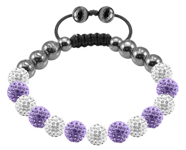 Tresor Paris Bracelet 8mm White And Lilac Crystal S