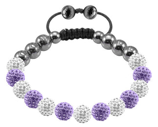 Tresor Paris Bracelet 8mm White And Lilac Crystal 018045