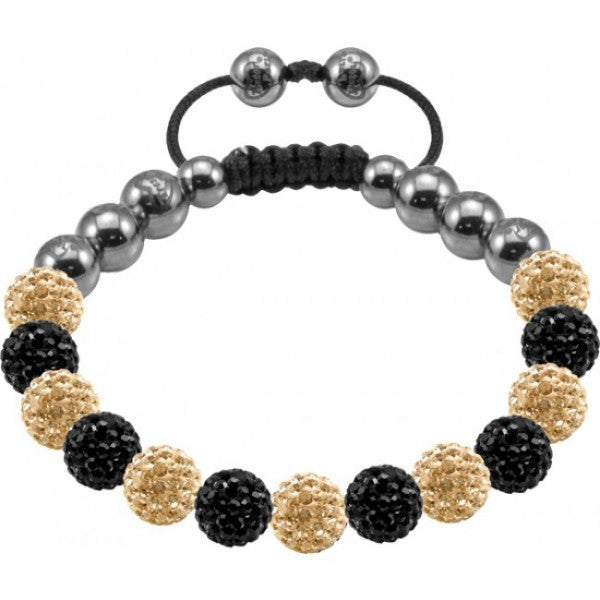 Tresor Paris Bracelet 8mm Black And Gold Crystal