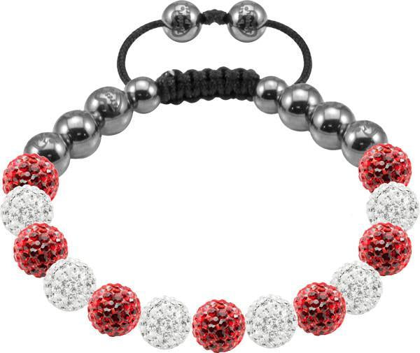Tresor Paris Bracelet 8mm Red And White Crystal S
