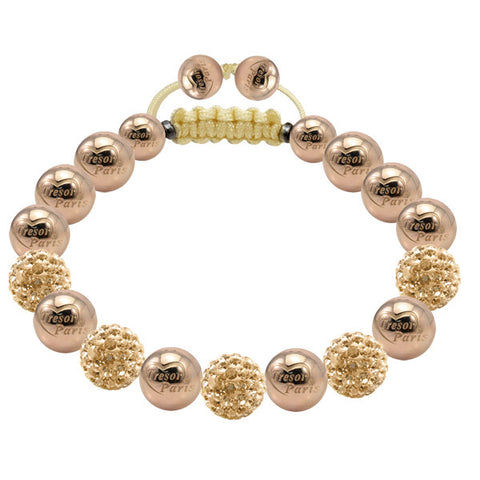 Tresor Paris Bracelet 8mm Gold Crystal Stainless Steel S