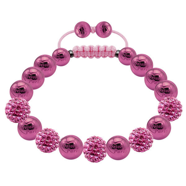 Tresor Paris Bracelet 10mm Pink Crystal Stainless Steel S