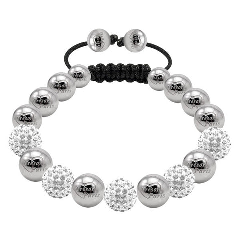 Tresor Paris Bracelet 10mm White Crystal Stainless Steel S