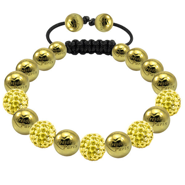Tresor Paris Bracelet 10mm Yellow Crystal And Gold Plated Stainless Steel S