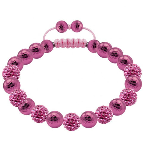 Tresor Paris Bracelet 8mm Pink Crystal Stainless Steel S