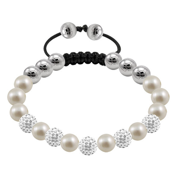 Tresor Paris Bracelet 8mm Cygnus Pearl And Crystal 019244