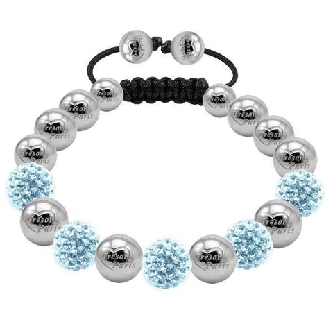 Tresor Paris Bracelet 10mm Aqua Blue Crystal S