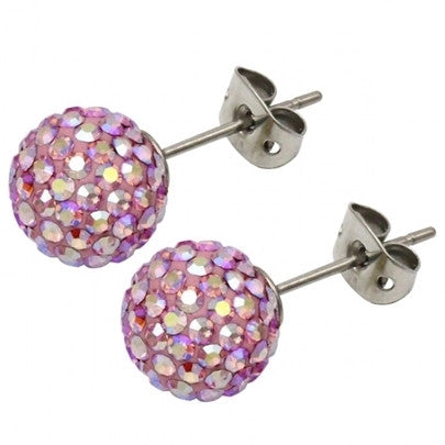 Tresor Paris Earrings 10mm Blush Pink Crystal