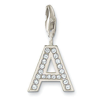 Thomas Sabo Charm  Sterling Silver Club Letter A White Zirconia