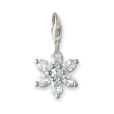 Thomas Sabo Charm  Sterling Silver Club Flower White Zirconia