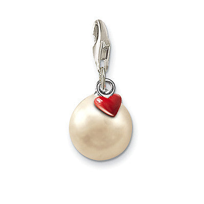 Thomas Sabo Charm  Sterling Silver Club Pearl Red Heart