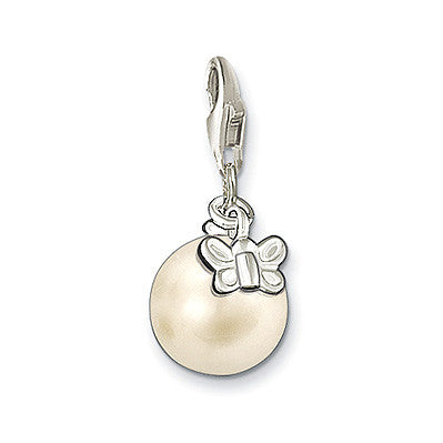 Thomas Sabo Charm  Sterling Silver Club Pearl With Butterfly