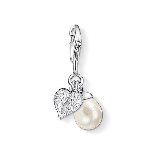 Thomas Sabo Charm  Sterling Silver Club Heart Wings With Pearl