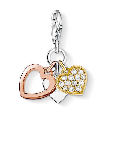 Thomas Sabo Charm  Sterling Silver Club Three Hearts