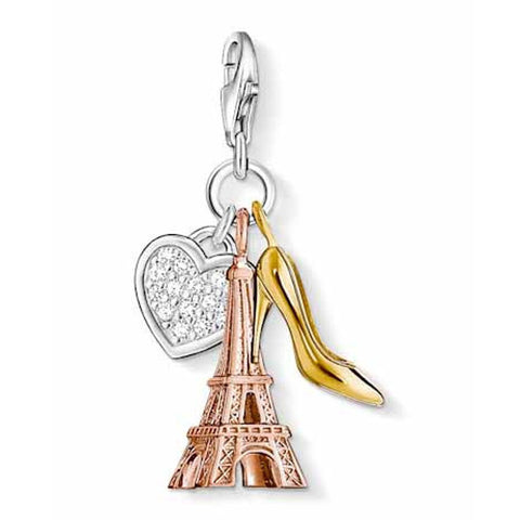 Thomas Sabo Charm  Sterling Silver Club Heart Eiffel Tower Shoe