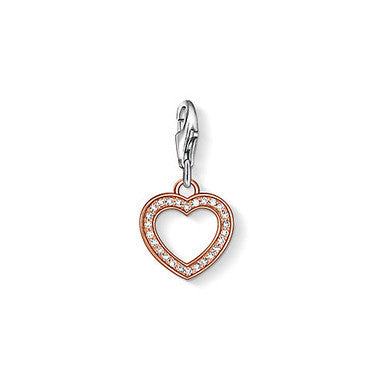 Thomas Sabo Charm  Sterling Silver Club k Rose Gold Plated WhiteZirconia Open Heart